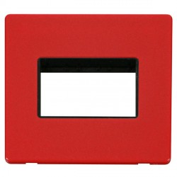 Click Definity Flat Plate Screwless Black Single Plate Triple Aperture Insert with Red Cover Plate