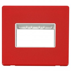 Click Definity Flat Plate Screwless Polar White Single Plate Triple Aperture Insert with Red Cover Plate