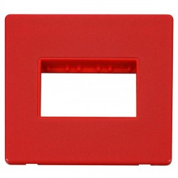 Click Definity Flat Plate Screwless Red Single Plate Triple Aperture Insert with Red Cover Plate