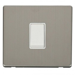 Click Definity Flat Plate Screwless 10AX 1 Gang 2 Way Polar White Switch with Stainless Steel Cover Plate