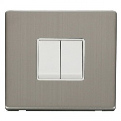 Click Definity Flat Plate Screwless 10AX 2 Gang 2 Way Polar White Switch with Stainless Steel Cover Plate