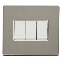 Click Definity Flat Plate Screwless 10AX 3 Gang 2 Way Polar White Switch with Stainless Steel Cover Plate