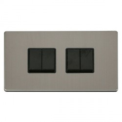 Click Definity Flat Plate Screwless 10AX 4 Gang 2 Way (2 x 2) Black Switch with Stainless Steel Cover Plate