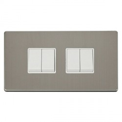 Click Definity Flat Plate Screwless 10AX 4 Gang 2 Way (2 x 2) Polar White Switch with Stainless Steel Cover Plate
