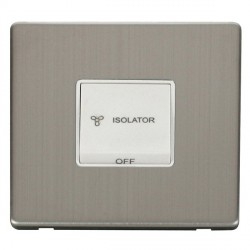 Click Definity Flat Plate Screwless 10A 3 Pole Fan Isolation Polar White Switch with Stainless Steel Cover Plate