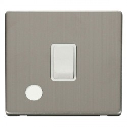 Click Definity Flat Plate Screwless 20A DP Polar White with Flex Outlet with Stainless Steel Cover Plate