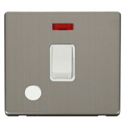 Click Definity Flat Plate Screwless 20A DP Polar White Switch with Flex Outlet and Neon with Stainless Steel Cover Plate
