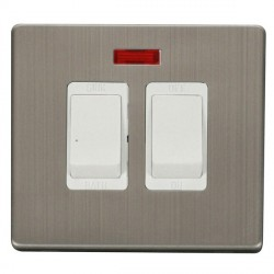 Click Definity Flat Plate Screwless 20A Polar White Sink and Bath Switch with Neon with Stainless Steel Cover Plate