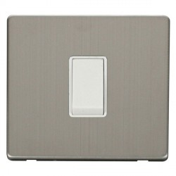 Click Definity Flat Plate Screwless 10AX 1 Gang Intermediate Polar White Switch Stainless Steel Cover Plate