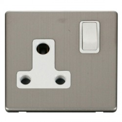 Click Definity Flat Plate Screwless 1 Gang 15A Round Pin Polar White Switched Socket with Stainless Steel Cover Plate