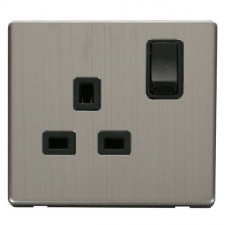 Click Definity Flat Plate Screwless 1 Gang UK 13A Black Switched Socket with Stainless Steel Cover Plate