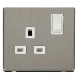 Click Definity Flat Plate Screwless 1 Gang UK 13A Polar White Switched Socket with Stainless Steel Cover Plate