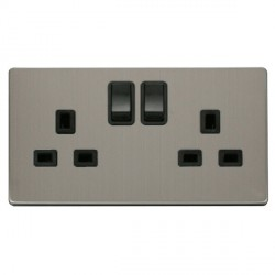 Click Definity Flat Plate Screwless 2 Gang UK 13A Black Switched Socket with Stainless Steel Cover Plate