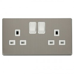 Click Definity Flat Plate Screwless 2 Gang UK 13A Polar White Switched Socket with Stainless Steel Cover Plate