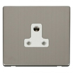 Click Definity Flat Plate Screwless 1 Gang 5A Round Pin Polar White Socket with Stainless Steel Cover Plate