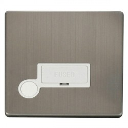 Click Definity Flat Plate Screwless 13A Polar White Fused Connection Unit with Flex Outlet with Stainless Steel Cover Plate