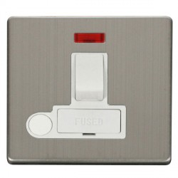 Click Definity Flat Plate Screwless 13A Polar White Fused Switched Connection Unit with Flex Outlet and Neon with Stainless Steel Cover Plate