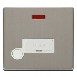Click Definity Flat Plate Screwless 13A Polar White Fused Connection Unit with Flex Outlet and Neon with Stainless Steel Cover Plate