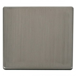 Click Definity Flat Plate Screwless 1 Gang Polar White Blank Plate Insert with Stainless Steel Cover Plate