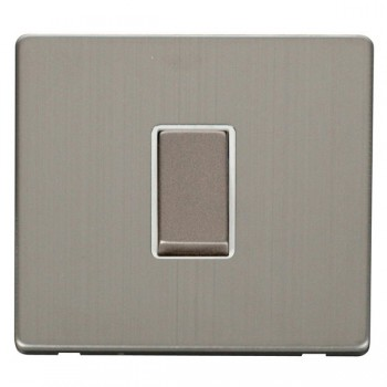 Click Definity Flat Plate Screwless 10AX 1 Gang 2 Way Polar White Insert with Stainless Steel Switch with Stainless Steel Cover Plate