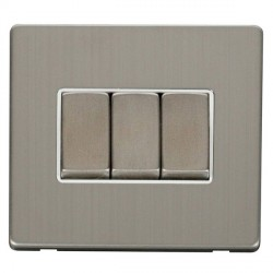 Click Definity Flat Plate Screwless 10AX 3 Gang 2 Way Polar White Insert with Stainless Steel Switch with Stainless Steel Cover Plate