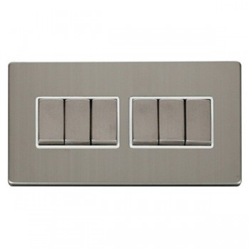 Click Definity Flat Plate Screwless 10AX 6 Gang 2 Way (2 x 3) Polar White Insert with Stainless Steel Switch with Stainless Steel Cover Plate