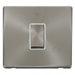 Click Definity Flat Plate Screwless 10AX 1 Gang Polar White Insert with Brushed Steel Intermediate Switch with Brushed Steel Cover Plate