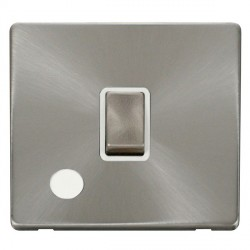 Click Definity Flat Plate Screwless 20A DP Ingot Switch with Flex Outlet, Polar White Insert with Brushed Steel Switch with Brushed Steel Cover Plate