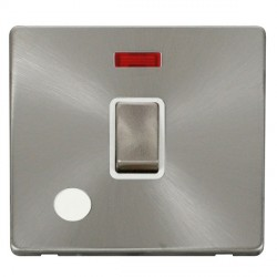Click Definity Flat Plate Screwless 20A DP Brushed Steel Ingot Switch with Flex Outlet and Neon, Polar White Insert with Brushed Steel Cover Plate
