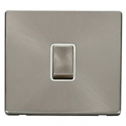 Click Definity Flat Plate Screwless 20A DP Ingot Switch, Polar While Insert with Brushed Steel Switch with Brushed Steel Cover Plate