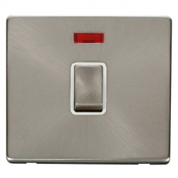 Click Definity Flat Plate Screwless 20A DP Ingot Switch with neon, Polar While Insert with Brushed Steel Switch with Brushed Steel Cover Plate