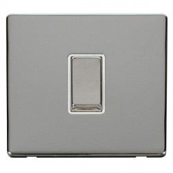 Click Definity Flat Plate Screwless 10AX 1 Gang Polar White Insert with Polished Chrome Intermediate Switch with Polished Chrome Cover Plate
