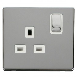 Click Definity Flat Plate Screwless UK 1 Gang 13A Ingot Switched Socket, Polar White Insert, Polished Chrome Switch and Polished Chrome Cover Plate
