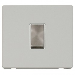 Click Definity Flat Plate Screwless 10AX 1 Gang Polar White Insert with Brushed Steel Intermediate Switch...