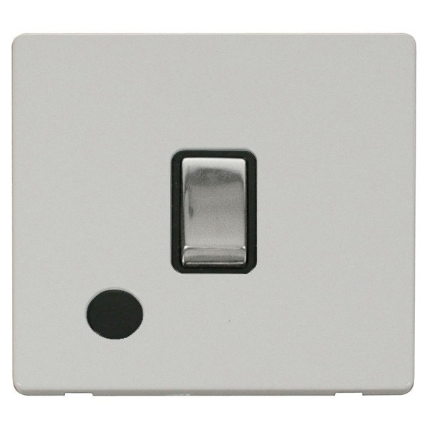 Click Definity Flat Plate Less 20a Dp Ingot Switch With Flex Outlet Black Insert Polished Chrome Polar White Cover