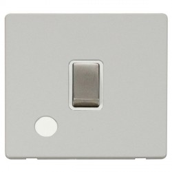 Click Definity Flat Plate Screwless 20A DP Ingot Switch with Flex Outlet, Polar White Insert with Stainle...