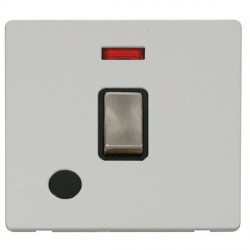 Click Definity Flat Plate Screwless 20A DP Ingot Switch with Flex Outlet and Neon, Black Insert with Brus...