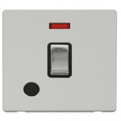 Click Definity Flat Plate Screwless 20A DP Ingot Switch with Flex Outlet and Neon, Black Insert, Polished...