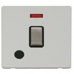 Click Definity Flat Plate Screwless 20A DP Ingot Switch with Flex Outlet and Neon, Black Insert, Stainles...