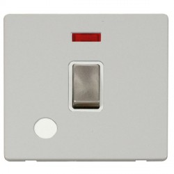 Click Definity Flat Plate Screwless 20A DP Brushed Steel Ingot Switch with Flex Outlet and Neon, Polar White Insert and Cover Plate