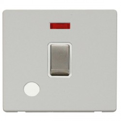 Click Definity Flat Plate Screwless 20A DP Stainless Steel Ingot Switch with Flex Outlet and Neon, Polar ...