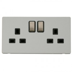 Click Definity Flat Plate Screwless UK 2 Gang 13A Ingot Switched Socket, Black Insert with Brushed Steel ...