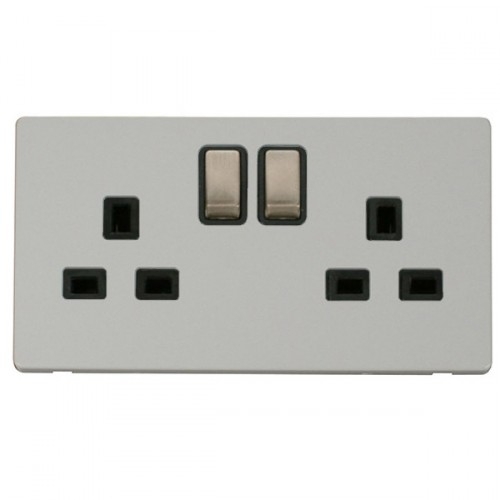Click Definity Flat Plate Screwless Uk 2 Gang 13a Ingot Switched Socket Black Insert With Brushed Steel Switch With Polar White Cover Plate At Uk Electrical Supplies