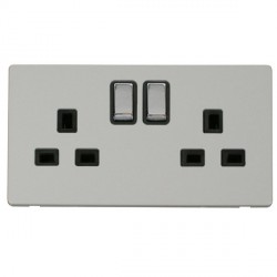 Click Definity Flat Plate Screwless UK 2 Gang 13A Ingot Switched Socket, Black Insert with Polished Chrom...