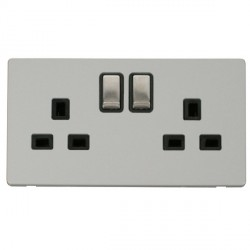 Click Definity Flat Plate Screwless UK 2 Gang 13A Ingot Switched Socket, Black Insert with Stainless Stee...