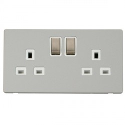 Click Definity Flat Plate Screwless UK 2 Gang 13A Ingot Switched Socket, Polar White Insert with Brushed ...