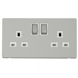 Click Definity Flat Plate Screwless UK 2 Gang 13A Ingot Switched Socket, Polar White Insert with Polished...
