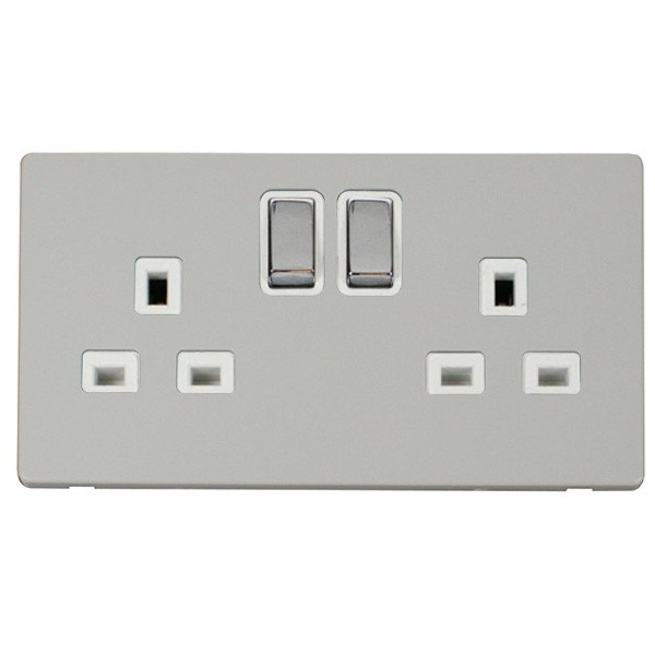 Click Definity Flat Plate Less Uk 2 Gang 13a Ingot Switched Socket Polar White Insert With Polished Chrome Switch Cover