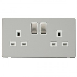 Click Definity Flat Plate Screwless UK 2 Gang 13A Ingot Switched Socket, Polar White Insert with Stainles...