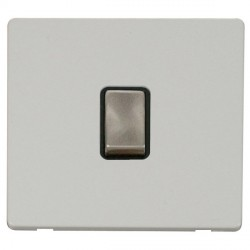 Click Definity Flat Plate Screwless 20A DP Ingot Switch, Black Insert with Brushed Steel Switch with Pola...